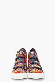 Raf Simons Multicolor Textured Floral Velcro Sneakers for men