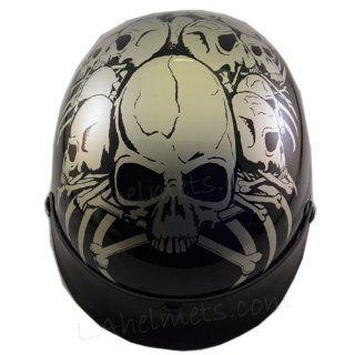 New Dot Adult White Skull Half Motorcycle Helmet Biker JX B210 white