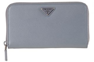 Prada Light Blue Leather Saffiano Checkbook Wallet