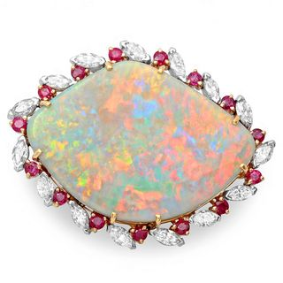 Roberto Martinez 18k Gold Opal, Ruby and 1 1/2ct TDW Diamond Estate
