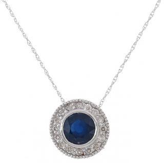 14k Gold 1/6ct Diamond Round Blue Sapphire Pendant