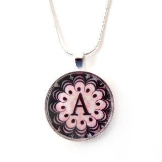 Silverplated Personalized Pink Damask style Monogram Necklace