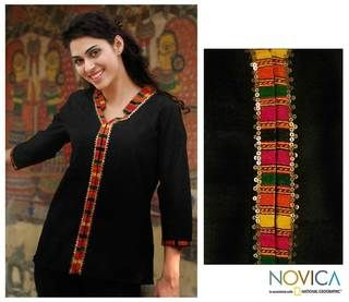 Womens Cotton Midnight Jewel Blouse (India)