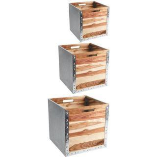 JARDINIERE   POT FLEUR Cache pot carré en zinc et acacia, X3 GCP155S