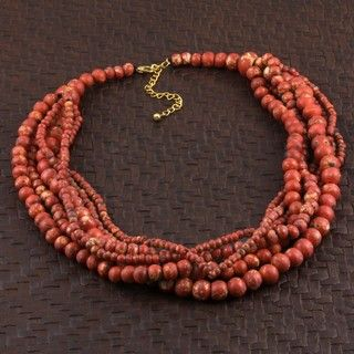 Wood The Coral Look Multi strand Beaded Necklace (India)