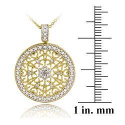 DB Designs 18k Gold over Silver Diamond Accent Filigree Medallion