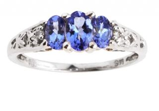 14k Diamond Tanzanite Deco style Ring