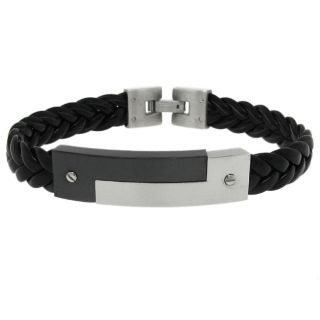 Moise Stainless Steel Mens Black Leather Bracelet