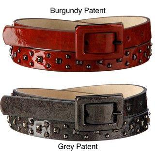 Steve Madden Womens Studded Patent Leather Belt