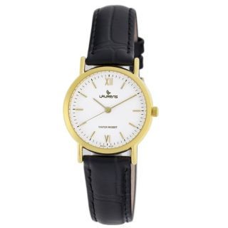 Black Leather White Dial Gold tone Indices Womens Watch