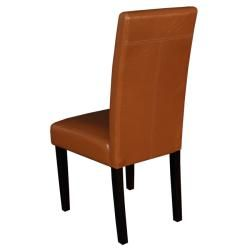 Villa Faux Leather Worn Brown Dining Chairs (Set of 2)