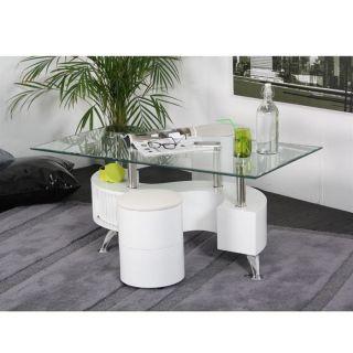 SURF Table basse Blanche + 2 poufs assortis   Achat / Vente TABLE