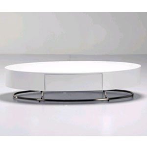 Diamond Sofa 55 Inch Low Profile Oval Cocktail Table with