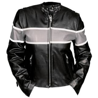 Leather Womens Silver Striped Motorcycle Racing Jacket
