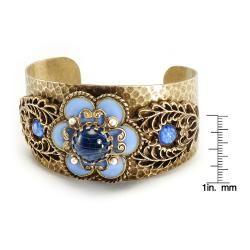 Sweet Romance Blue Enamel Flower Cuff Bracelet