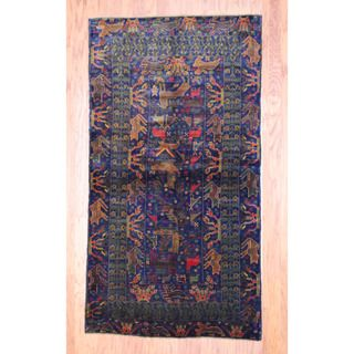 Afghan Hand knotted Tribal Balouchi Navy/ Red Wool Rug (310 x 611