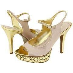 Nine West Caliber Light Pink/Gold Satin Sandals