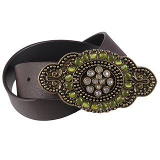 Journee Collection Womens Rhinestone Buckle Leather Belt