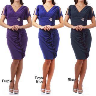 Tabeez Womens Jersey Knit Rhinestone Brooch Ruffle Dress Today $118