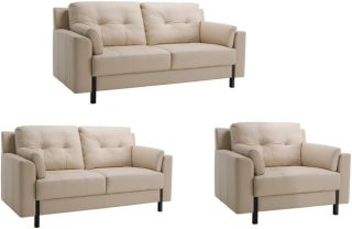 Tiffany Cream Leather Sofa, Loveseat and Chair