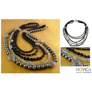Midnight Empress Onyx and Hematite Strand Necklace (India