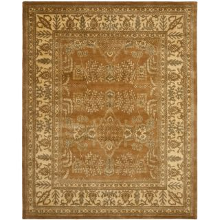 Handmade Tree Light Brown/ Beige Hand spun Wool Rug (96 x 136