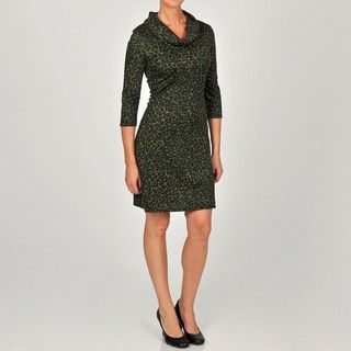 Glamour Womens Animal Printed Cowl Neck Dress