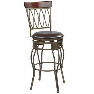 Cosmo 30 inch Ash Metal Upholstered Swivel Barstool