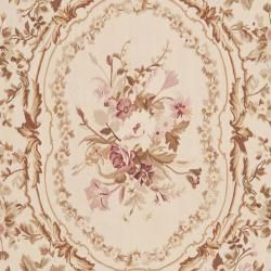 Hand knotted French Aubusson Ivory Wool Rug (8 x 10)