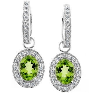 14k White Gold 1/6ct TDW Diamond Peridot Earrings