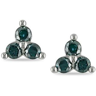 Miadora 14k White Gold 1/4ct TDW Blue Diamond Solitaire Earrings MSRP