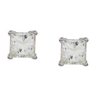 14k White Gold Princess cut Moissanite Stud Earrings