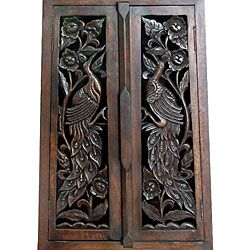 Hand carved Bird Motif 40 inch Storage Cabinet
