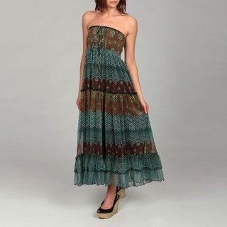 Lapis Womens Turquoise/ Brown Paisley Dress