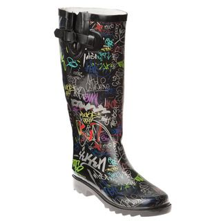 Henry Ferrera Womens Graffitti printed Rain Boots