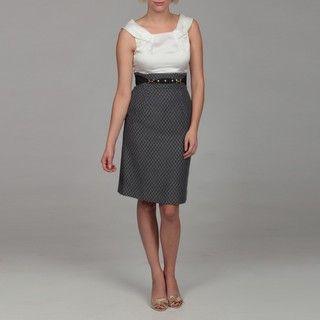 Tahari Womens Iron/ Navy Belted Dress