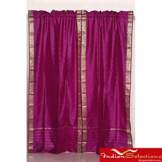 Indo Violet Red Rod Pocket Sari Sheer Curtain (43 in. x 84 in