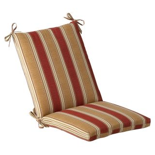 Pillow Perfect Outdoor Red/ Gold Striped Square Chair Cushion