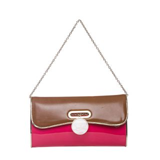 Christian Louboutin Riviera Pink/ Brown Patent Leather Clutch