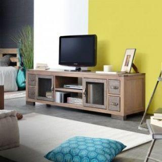 Meuble TV pin et métal 170 Colombus   Achat / Vente MEUBLE TV   HI FI