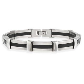 Stainless Steel and Black Rubber Mens Link Bracelet