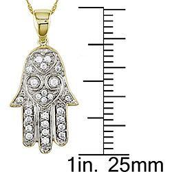 14k Gold 1/5ct TDW Diamond Hamsa Necklace