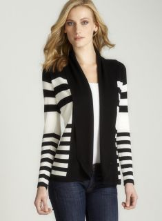 Red Long Sleeved Stripe Open Front Sweater