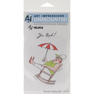 Art Impressions People Cling Rubber Stamp Rockin Ruby Set