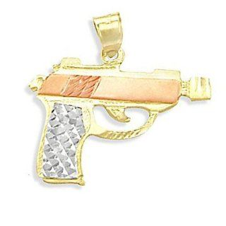 Pistol Pendant 14k Rose Yellow Gold Gun Charm Jewelry