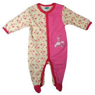 Bon Bebe Newborn Girls Dark Pink Rabbit Coverall