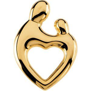 14K Yellow Gold Mother and Child Heart Pendant by Janel