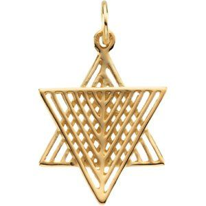 14Kt Yellow Gold Star of David (Made in the Holy Land