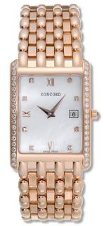 Concord Mens Veneto 18k Rose Gold Diamond Watch