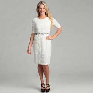 Connected Apparel Womens Ivory Elbow Sleeve Dress